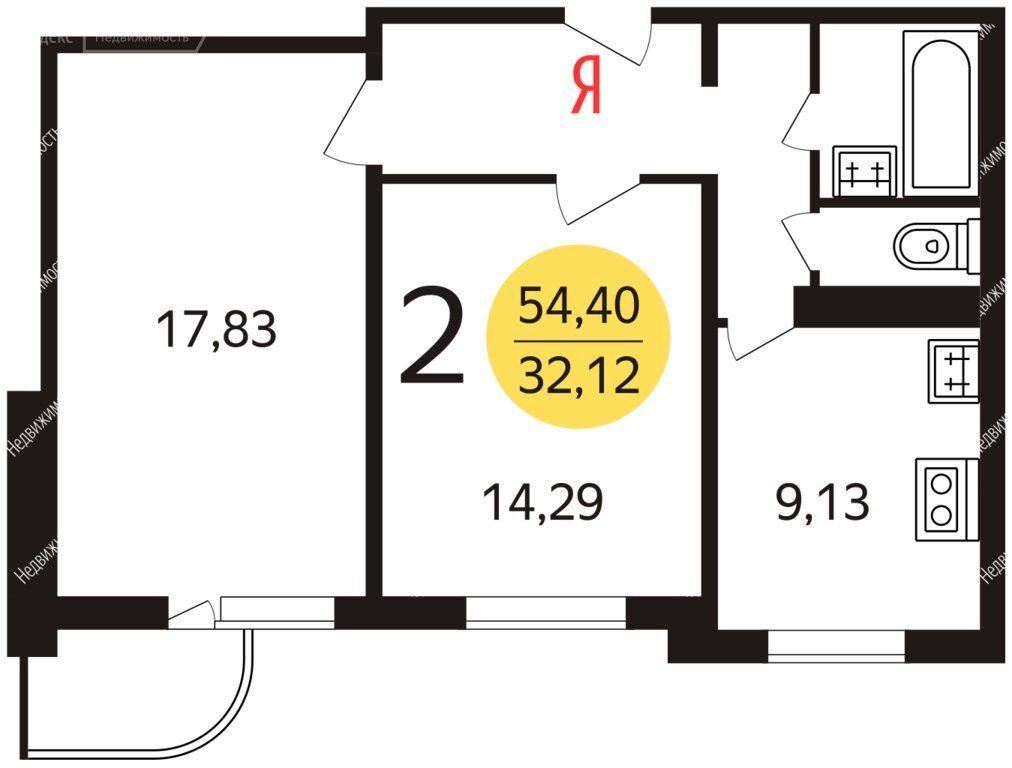 Аренда двухкомнатной квартиры Москва, метро Беляево, улица Введенского 24к1, цена 45000 рублей, 2020 год объявление №1066787 на megabaz.ru