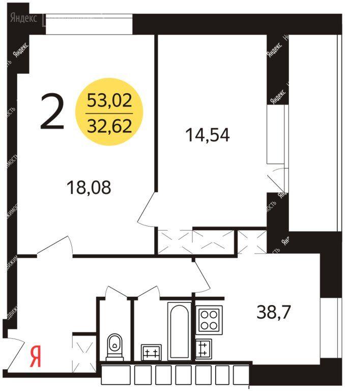 Продажа двухкомнатной квартиры Москва, метро Нахимовский проспект, Нахимовский проспект 11к2, цена 12200000 рублей, 2020 год объявление №433420 на megabaz.ru