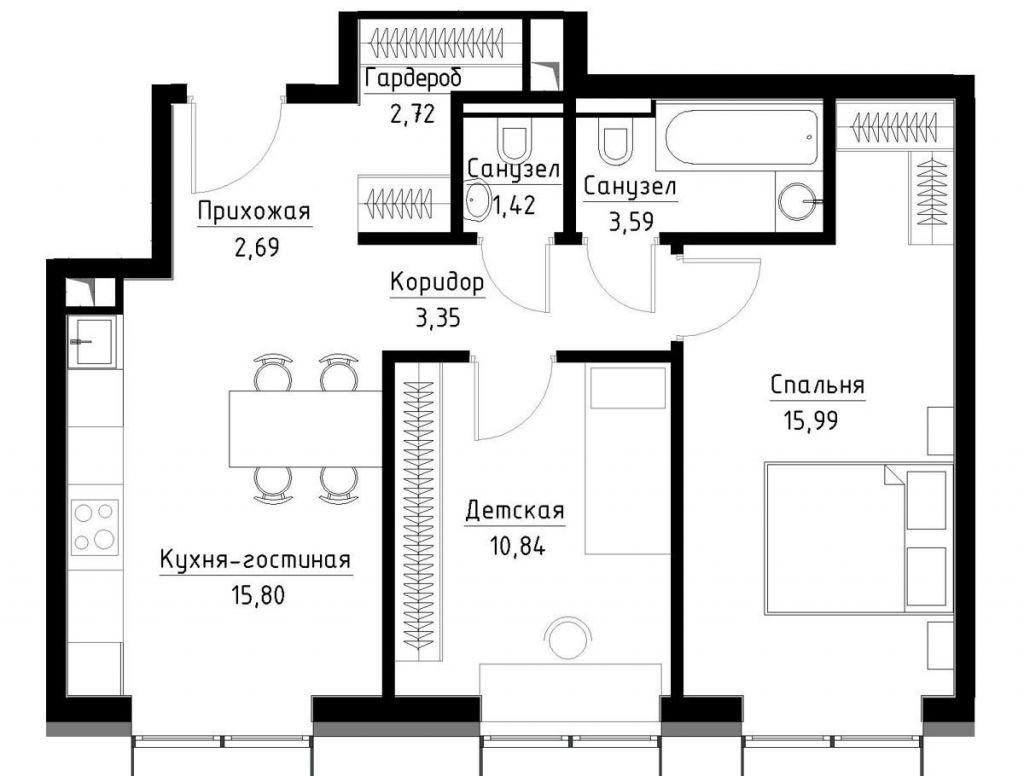 Продажа двухкомнатной квартиры Москва, метро Волгоградский проспект, Волгоградский проспект вл32к3, цена 7000000 рублей, 2020 год объявление №432425 на megabaz.ru
