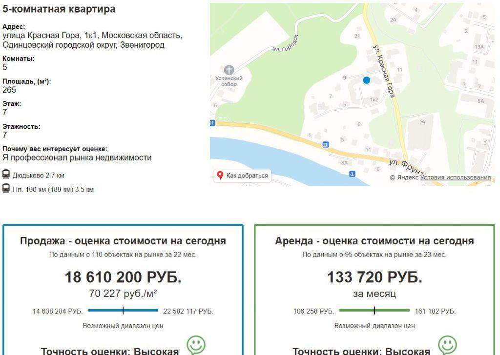 Продажа пятикомнатной квартиры Звенигород, улица Красная Гора 1к1, цена 9957488 рублей, 2020 год объявление №407035 на megabaz.ru
