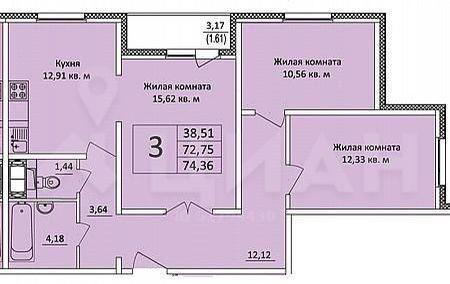 Продажа трёхкомнатной квартиры Домодедово, метро Кантемировская, улица Курыжова 17, цена 7150000 рублей, 2020 год объявление №405159 на megabaz.ru