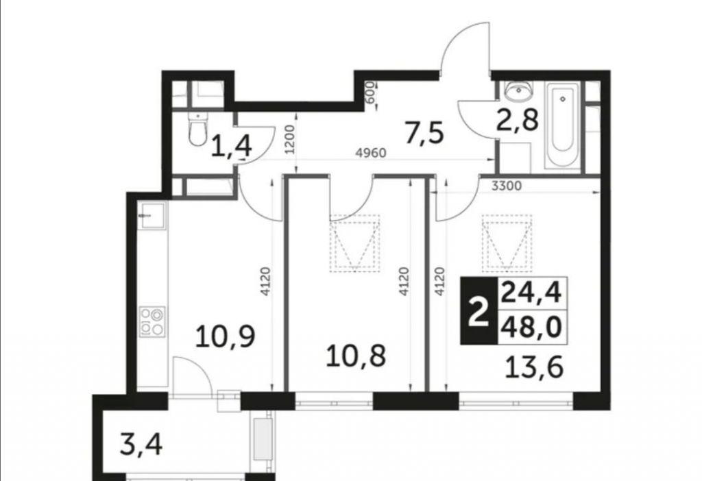 Продажа двухкомнатной квартиры поселок Развилка, метро Красногвардейская, Римский проезд, цена 6700000 рублей, 2021 год объявление №420963 на megabaz.ru