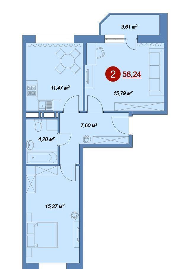 Продажа двухкомнатной квартиры деревня Островцы, цена 4049280 рублей, 2020 год объявление №431330 на megabaz.ru