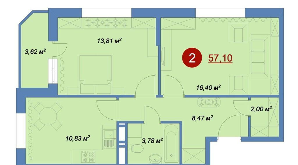 Продажа двухкомнатной квартиры деревня Островцы, цена 4111200 рублей, 2020 год объявление №431319 на megabaz.ru