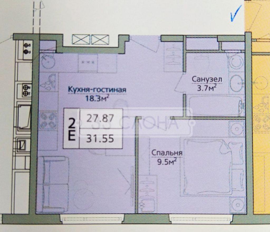Продажа двухкомнатной квартиры деревня Сапроново, цена 3350000 рублей, 2020 год объявление №440057 на megabaz.ru