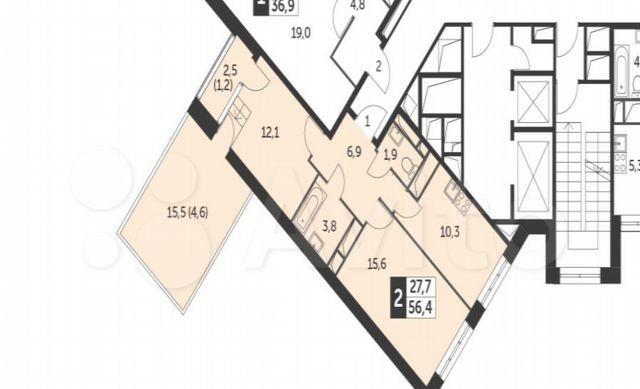 Продажа двухкомнатной квартиры поселок Нагорное, Липкинское шоссе 5К, цена 10500000 рублей, 2021 год объявление №558698 на megabaz.ru