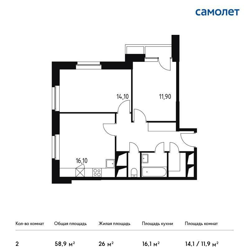 Продажа двухкомнатной квартиры деревня Раздоры, цена 6969401 рублей, 2020 год объявление №433686 на megabaz.ru