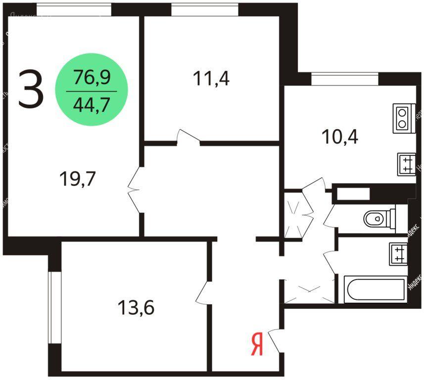 Продажа трёхкомнатной квартиры Москва, метро ВДНХ, Маломосковская улица 21к1, цена 23000000 рублей, 2020 год объявление №438886 на megabaz.ru