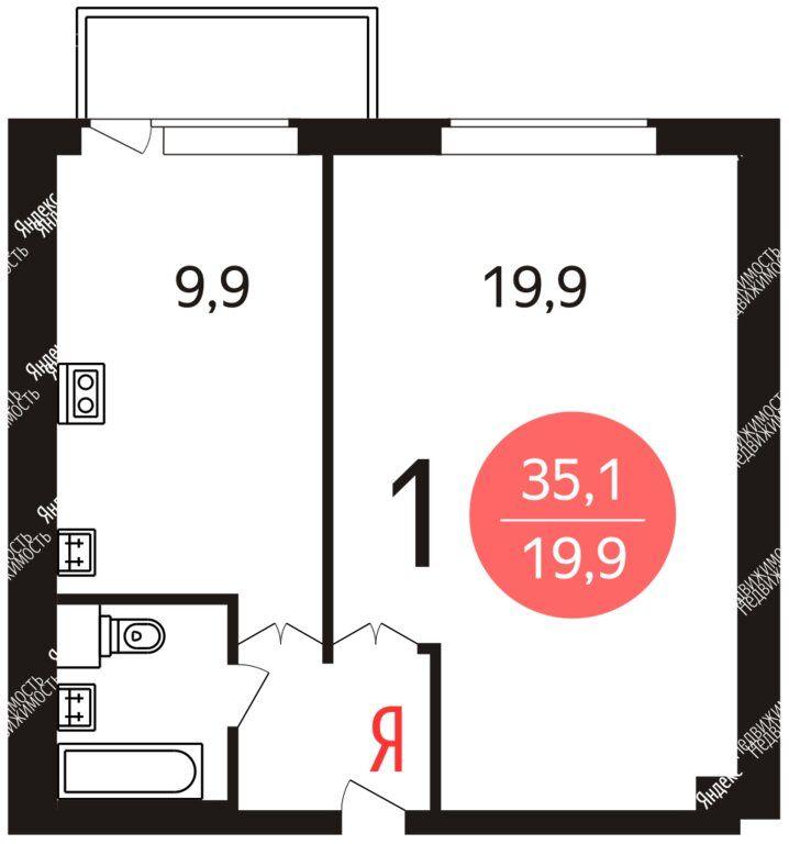 Аренда однокомнатной квартиры Хотьково, улица Академика Королёва 7к1, цена 15000 рублей, 2021 год объявление №1160978 на megabaz.ru