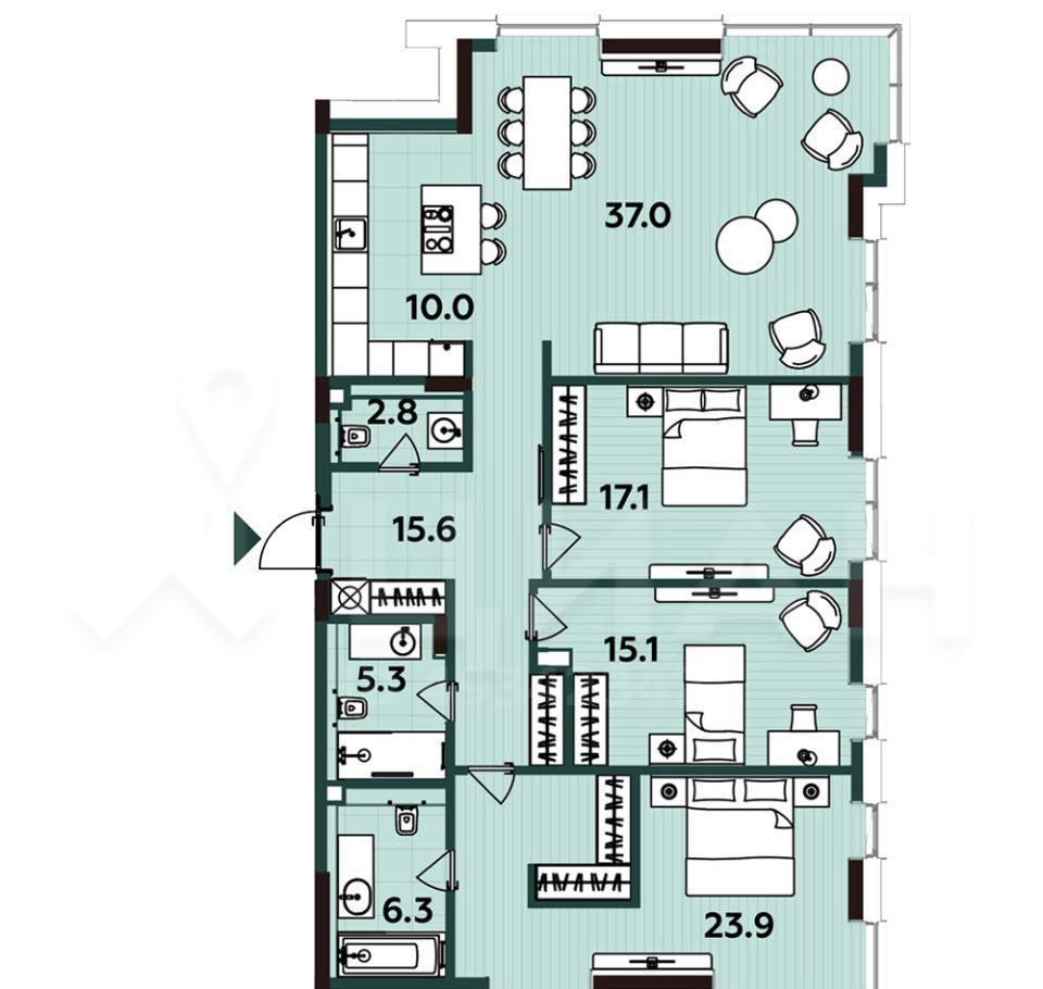 Продажа четырёхкомнатной квартиры Москва, метро Савеловская, цена 40000000 рублей, 2021 год объявление №465618 на megabaz.ru