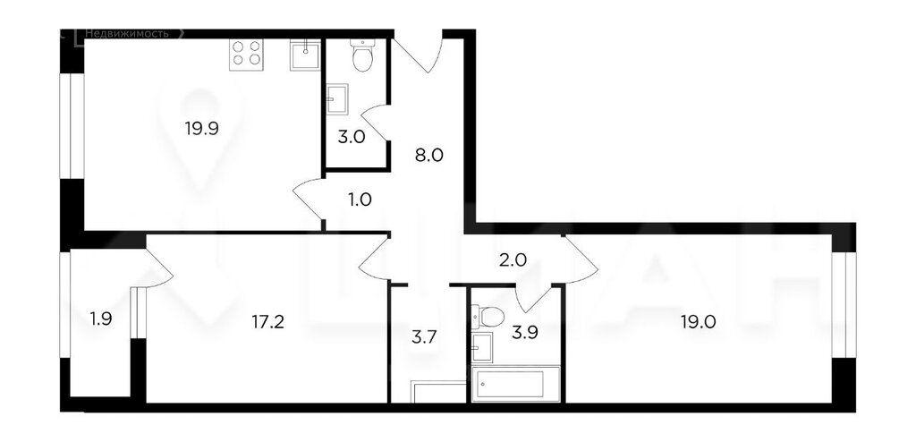 Продажа двухкомнатной квартиры Москва, метро Октябрьское поле, цена 26000000 рублей, 2021 год объявление №533430 на megabaz.ru