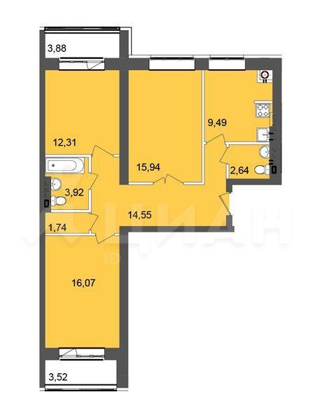 Продажа трёхкомнатной квартиры деревня Лобаново, Новая улица 3, цена 5000000 рублей, 2020 год объявление №463717 на megabaz.ru
