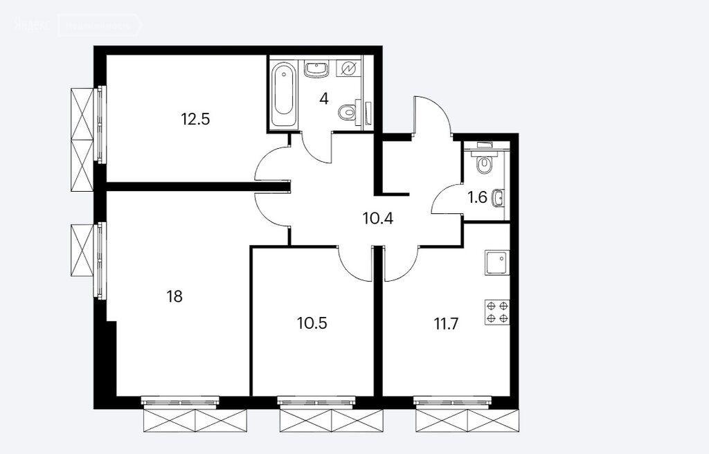 Продажа трёхкомнатной квартиры Москва, метро Фили, цена 16900000 рублей, 2021 год объявление №532414 на megabaz.ru