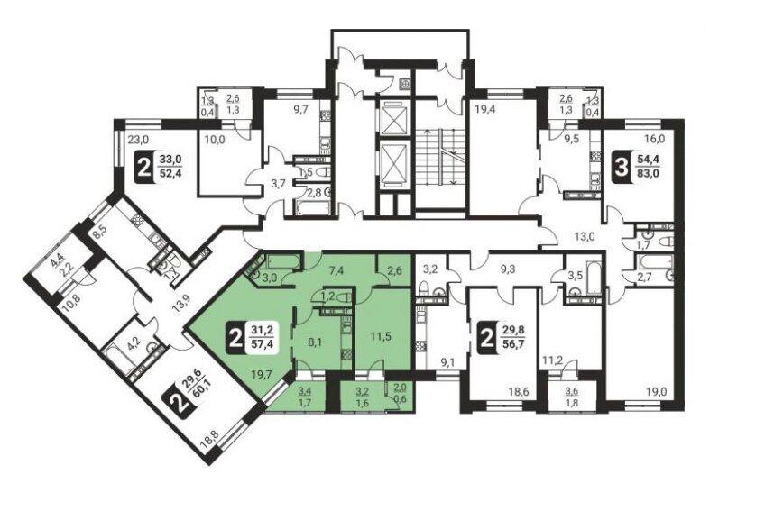 Продажа двухкомнатной квартиры поселок Развилка, метро Домодедовская, цена 6400000 рублей, 2021 год объявление №576594 на megabaz.ru