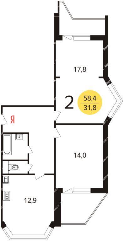 Продажа двухкомнатной квартиры село Немчиновка, улица Связистов 2, цена 7500000 рублей, 2021 год объявление №507447 на megabaz.ru