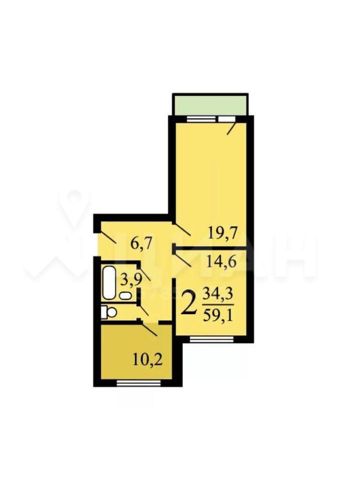 Продажа двухкомнатной квартиры Москва, метро Борисово, Алма-Атинская улица 2, цена 10990000 рублей, 2020 год объявление №493384 на megabaz.ru