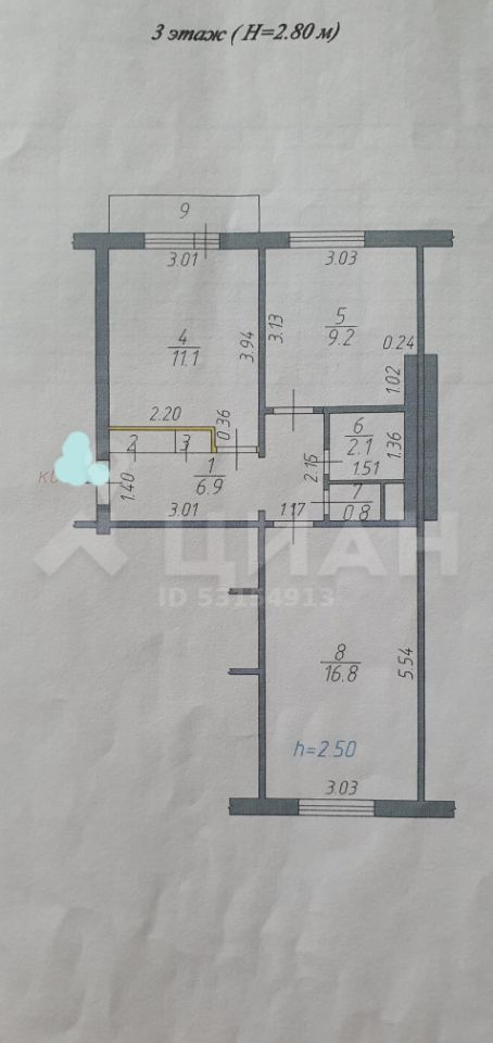 Продажа двухкомнатной квартиры Москва, метро Комсомольская, цена 2400000 рублей, 2020 год объявление №490616 на megabaz.ru