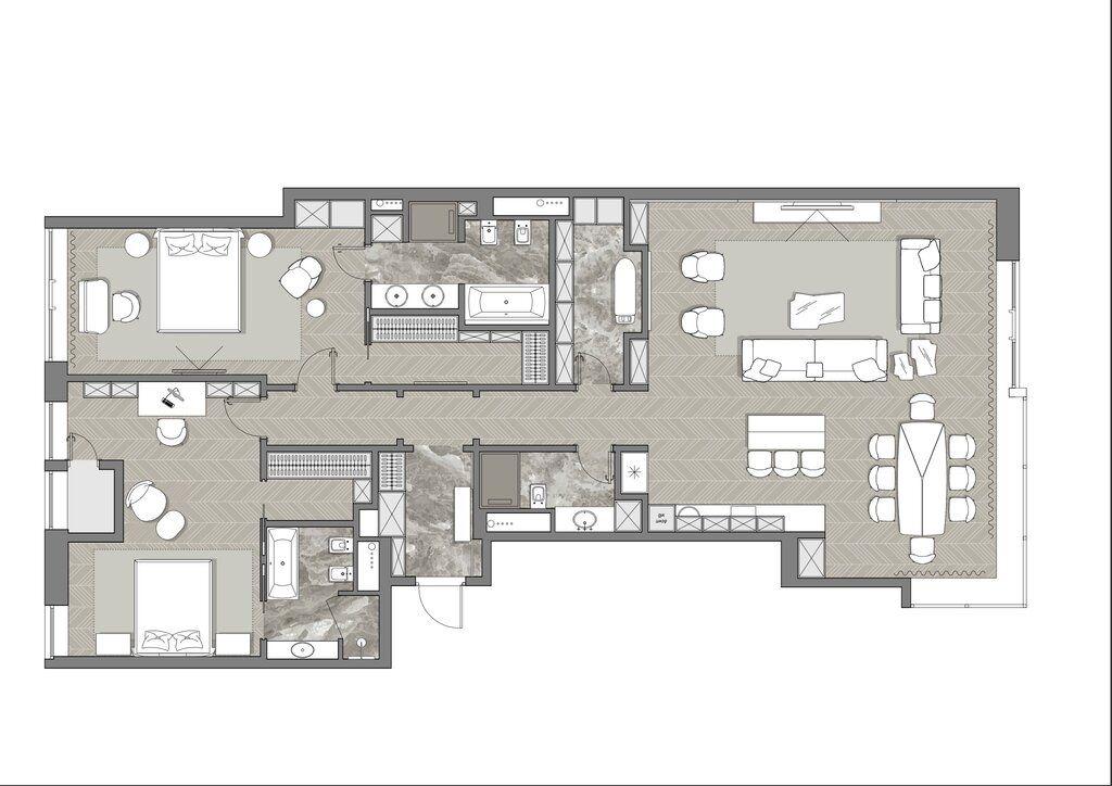 Продажа трёхкомнатной квартиры Москва, метро Улица 1905 года, 2-я Звенигородская улица 11, цена 249900000 рублей, 2020 год объявление №497180 на megabaz.ru