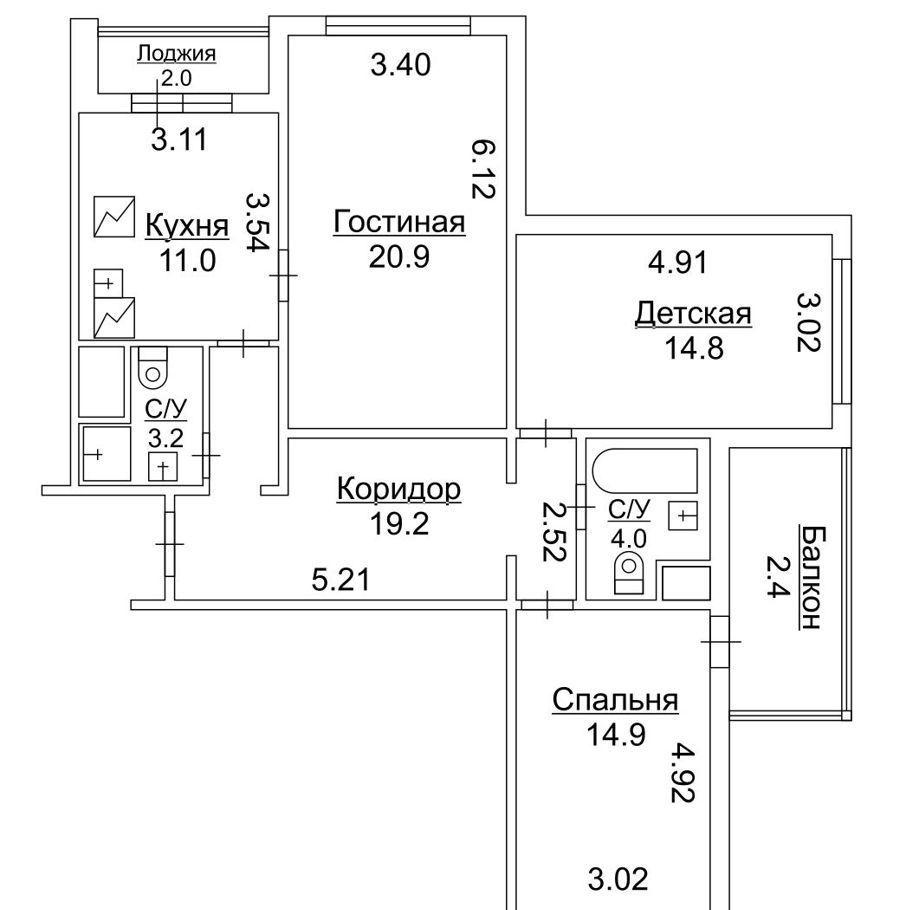 Продажа трёхкомнатной квартиры Москва, метро Кузьминки, Окская улица 3к2, цена 17900000 рублей, 2021 год объявление №518902 на megabaz.ru