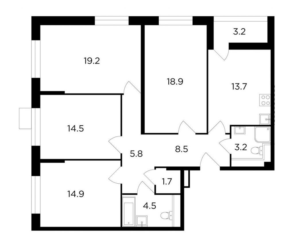 Продажа четырёхкомнатной квартиры Москва, метро Лесопарковая, цена 20954848 рублей, 2020 год объявление №506227 на megabaz.ru