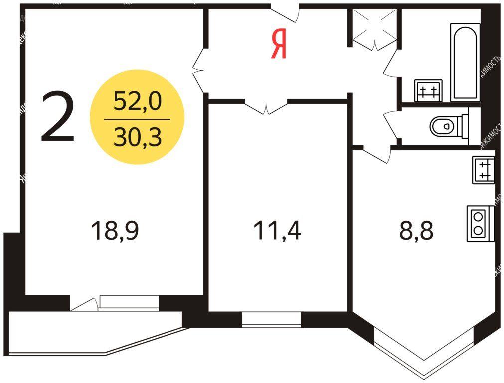 Продажа двухкомнатной квартиры Лобня, улица Юности 1, цена 5400000 рублей, 2020 год объявление №507688 на megabaz.ru