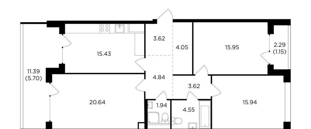 Продажа трёхкомнатной квартиры Москва, метро Автозаводская, Восточная улица 1к1, цена 32172023 рублей, 2021 год объявление №519811 на megabaz.ru