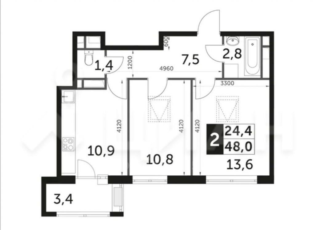 Продажа двухкомнатной квартиры поселок Развилка, метро Зябликово, Римский проезд 1, цена 6900000 рублей, 2021 год объявление №426921 на megabaz.ru