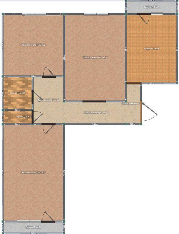 Продажа трёхкомнатной квартиры деревня Давыдово, улица 2-й Микрорайон 29, цена 3500000 рублей, 2021 год объявление №555088 на megabaz.ru