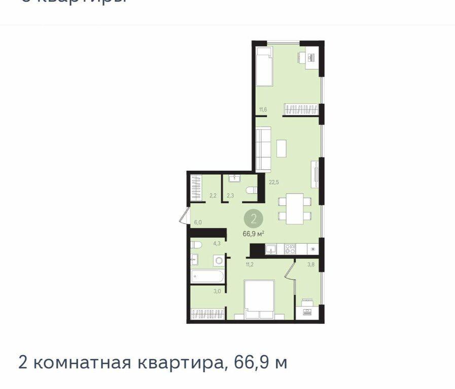 Продажа двухкомнатной квартиры деревня Сапроново, метро Домодедовская, цена 8599000 рублей, 2021 год объявление №578162 на megabaz.ru