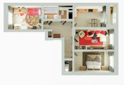 Продажа трёхкомнатной квартиры рабочий поселок Новоивановское, бульвар Эйнштейна 5, цена 9897552 рублей, 2021 год объявление №545942 на megabaz.ru