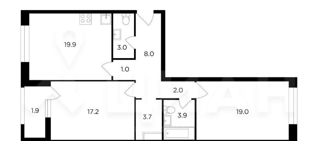Продажа двухкомнатной квартиры Москва, метро Октябрьское поле, цена 26000000 рублей, 2021 год объявление №533439 на megabaz.ru