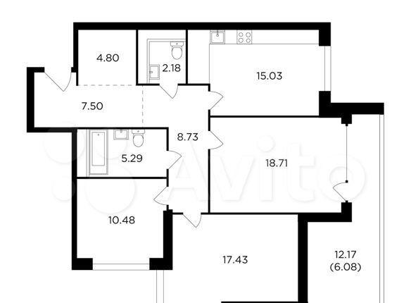 Продажа трёхкомнатной квартиры Москва, метро Автозаводская, Восточная улица 6, цена 34387790 рублей, 2021 год объявление №558110 на megabaz.ru