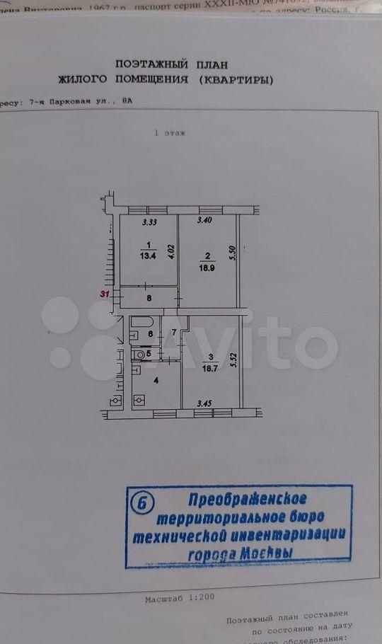 Продажа комнаты Москва, метро Первомайская, 7-я Парковая улица 8А, цена 3150000 рублей, 2021 год объявление №615301 на megabaz.ru