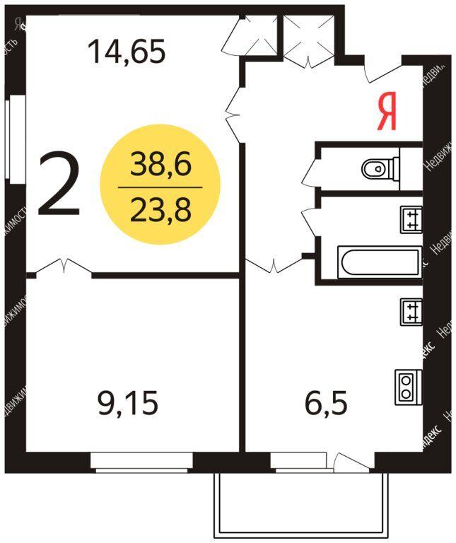 Продажа двухкомнатной квартиры Москва, метро Каширская, Каширское шоссе 36, цена 8500000 рублей, 2021 год объявление №631065 на megabaz.ru