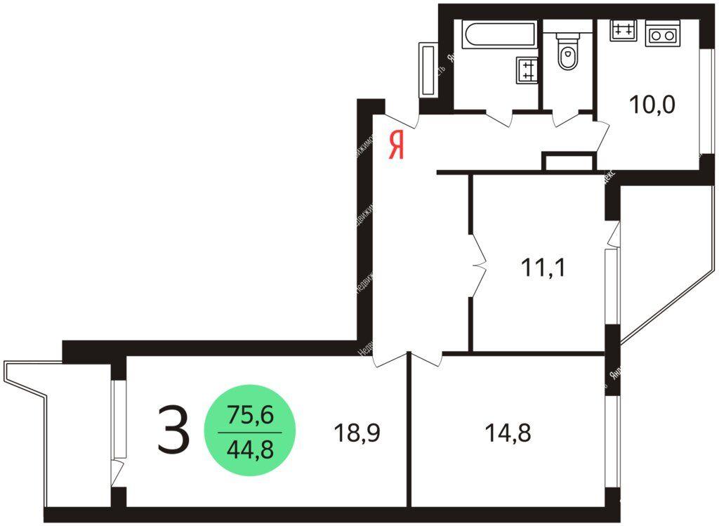 Продажа трёхкомнатной квартиры Видное, метро Домодедовская, Завидная улица 1, цена 10900000 рублей, 2021 год объявление №593673 на megabaz.ru