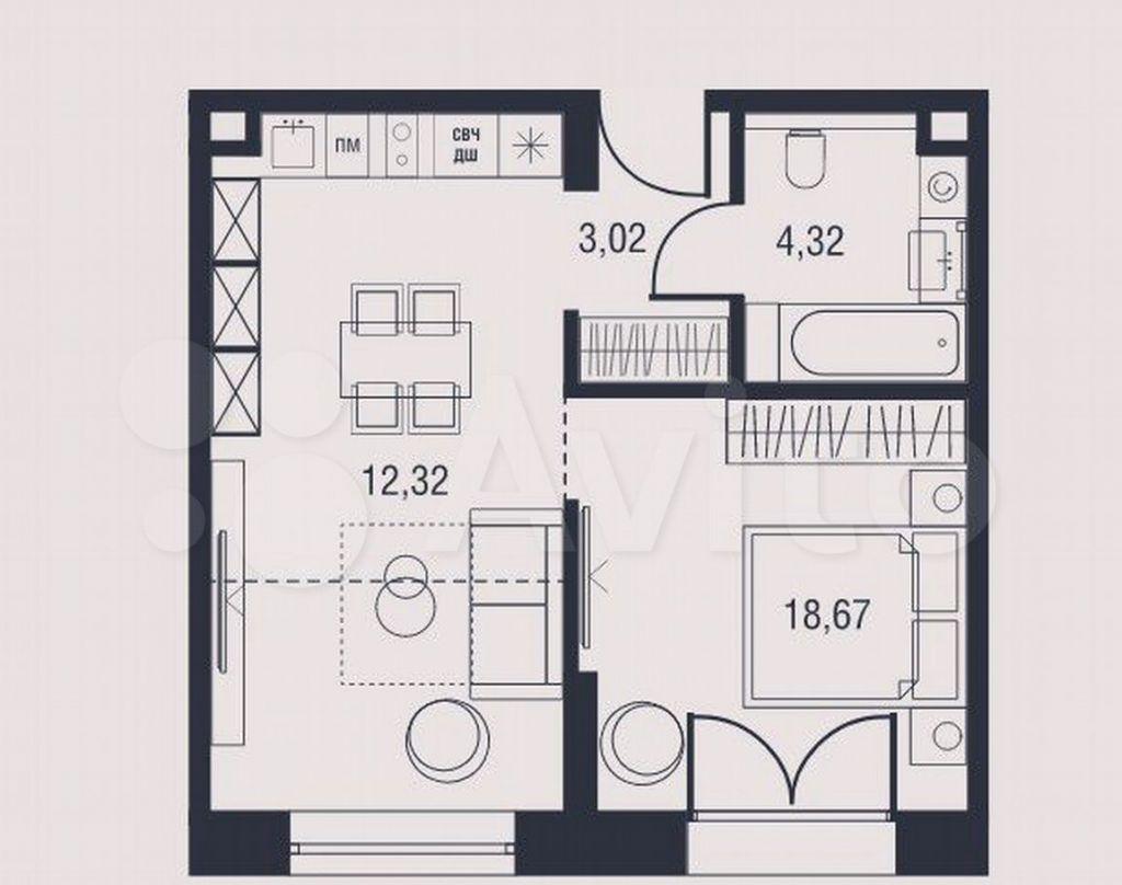 Продажа однокомнатной квартиры Москва, метро Калужская, цена 14055611 рублей, 2021 год объявление №609223 на megabaz.ru