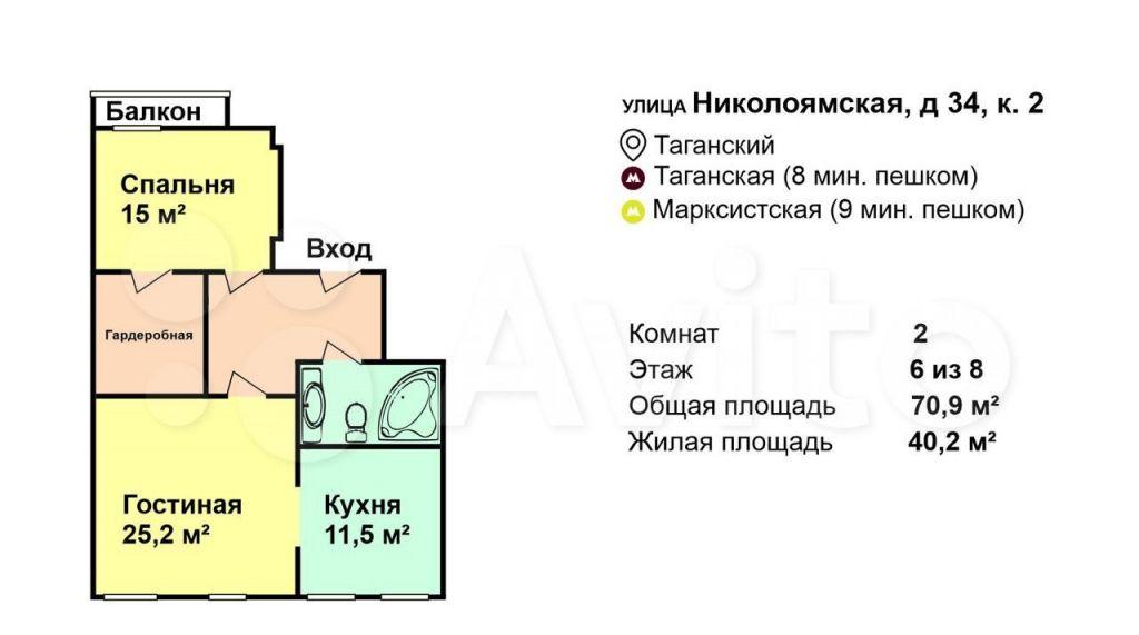 Аренда двухкомнатной квартиры Москва, метро Таганская, Николоямская улица 34к2, цена 100000 рублей, 2021 год объявление №1377913 на megabaz.ru