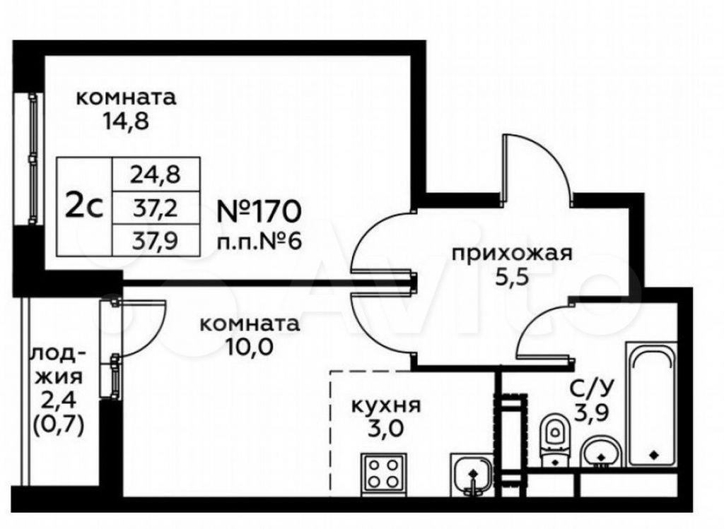 Продажа двухкомнатной квартиры село Воскресенское, цена 8195875 рублей, 2021 год объявление №660571 на megabaz.ru