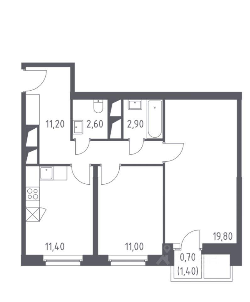Продажа двухкомнатной квартиры деревня Раздоры, метро Строгино, цена 11500000 рублей, 2021 год объявление №620228 на megabaz.ru