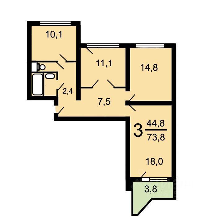 Продажа трёхкомнатной квартиры Москва, метро Полежаевская, Хорошёвское шоссе 66, цена 21000000 рублей, 2021 год объявление №652653 на megabaz.ru