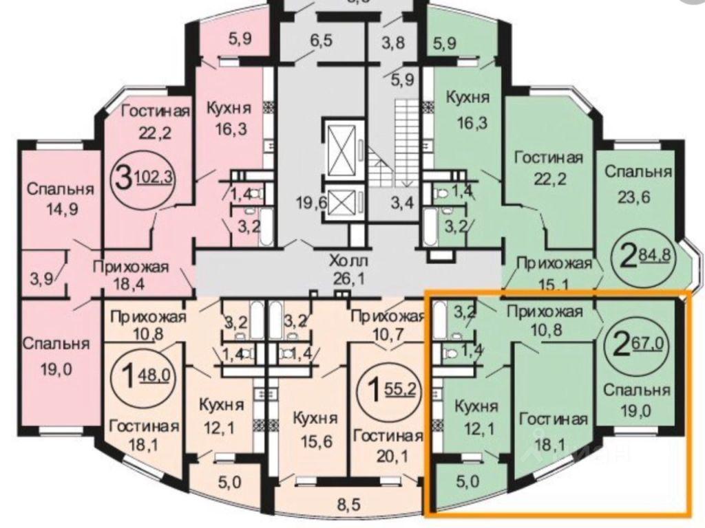 Продажа двухкомнатной квартиры поселок совхоза имени Ленина, метро Домодедовская, цена 14950000 рублей, 2021 год объявление №636330 на megabaz.ru