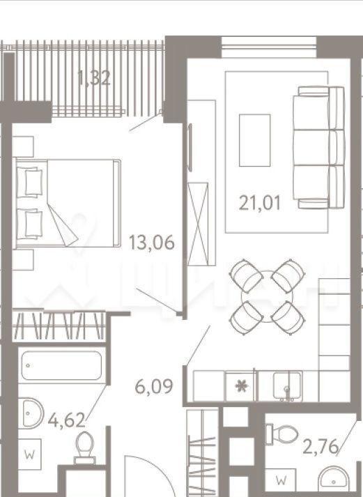 Продажа однокомнатной квартиры Москва, метро Варшавская, цена 10100000 рублей, 2021 год объявление №519804 на megabaz.ru
