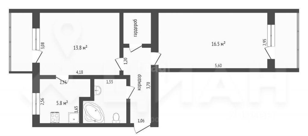 Продажа двухкомнатной квартиры Протвино, Сосновый проезд 1, цена 3190000 рублей, 2021 год объявление №647481 на megabaz.ru