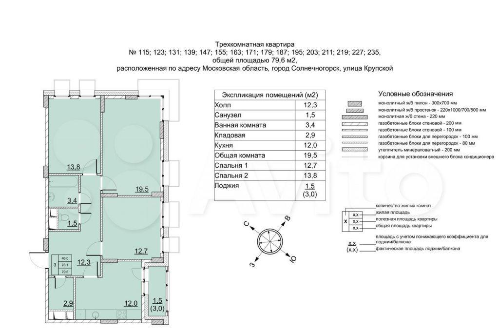 Продажа трёхкомнатной квартиры Солнечногорск, улица Крупской 5, цена 9154000 рублей, 2021 год объявление №661324 на megabaz.ru