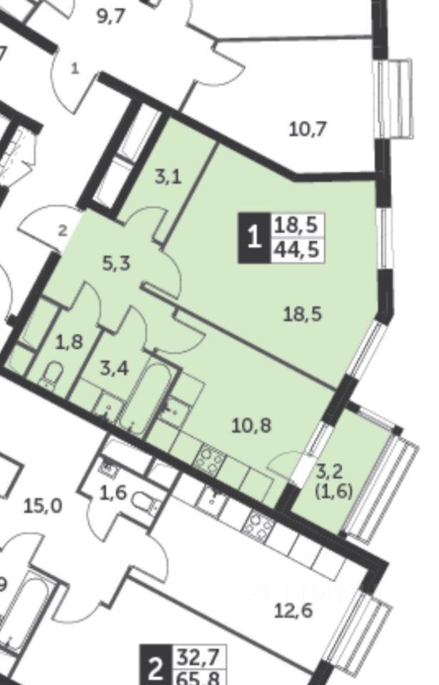 Продажа однокомнатной квартиры поселок Развилка, метро Зябликово, цена 7500000 рублей, 2021 год объявление №644766 на megabaz.ru