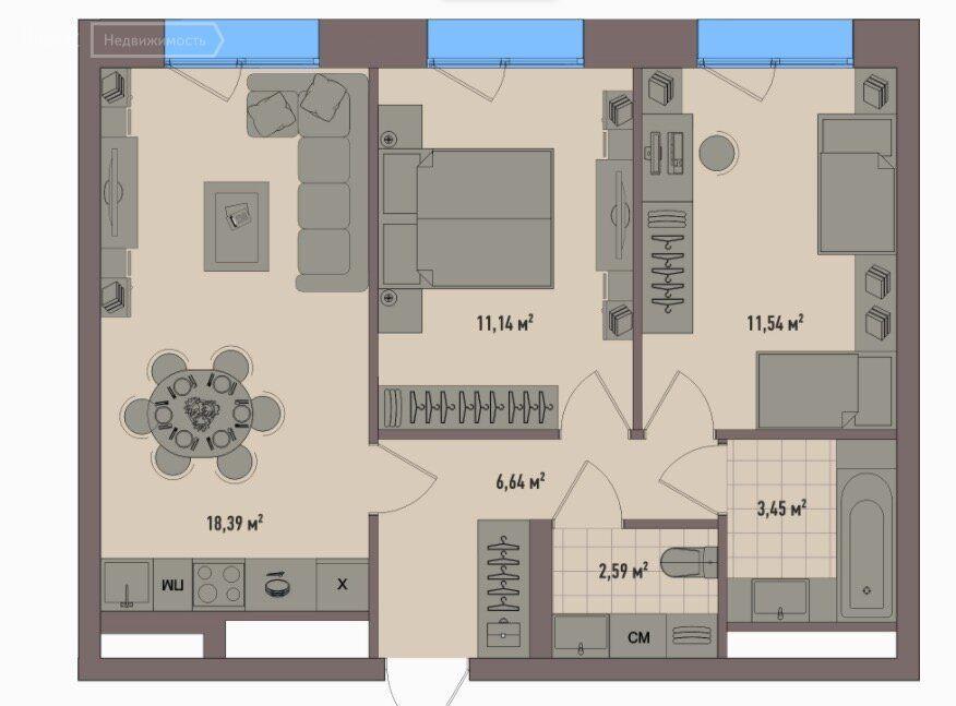 Продажа двухкомнатной квартиры Москва, метро Полежаевская, цена 22500000 рублей, 2021 год объявление №654231 на megabaz.ru
