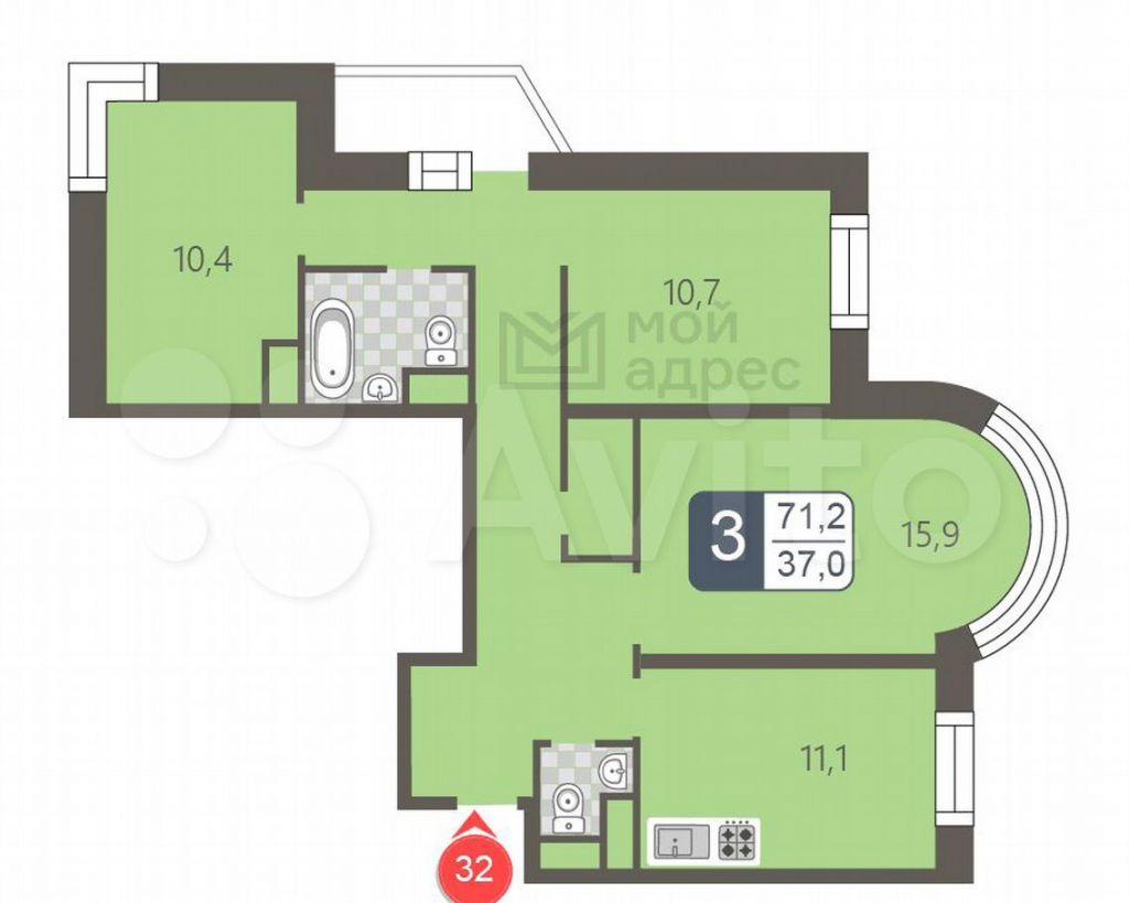 Продажа трёхкомнатной квартиры Москва, метро Бибирево, Стандартная улица 27, цена 16850000 рублей, 2021 год объявление №707286 на megabaz.ru