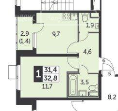 Продажа однокомнатной квартиры поселок Битца, Южный бульвар 5, цена 6350000 рублей, 2021 год объявление №684508 на megabaz.ru