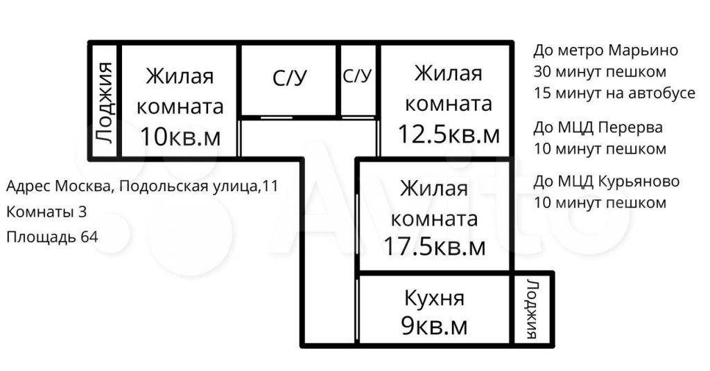 Продажа трёхкомнатной квартиры Москва, метро Марьино, Подольская улица 11, цена 16000000 рублей, 2021 год объявление №688274 на megabaz.ru