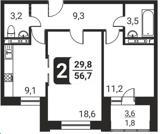Продажа двухкомнатной квартиры поселок Развилка, метро Домодедовская, цена 6500000 рублей, 2021 год объявление №708673 на megabaz.ru